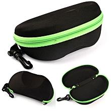 Portable Carabiner Eye Glasses Sunglasses Hard Case Protector Box Holder Green