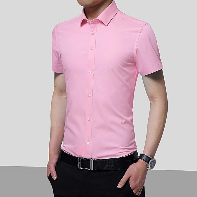a4690c5763 Men Short Sleeve Shirt Solid Color Business Office Formal Men Shirt (Pink)