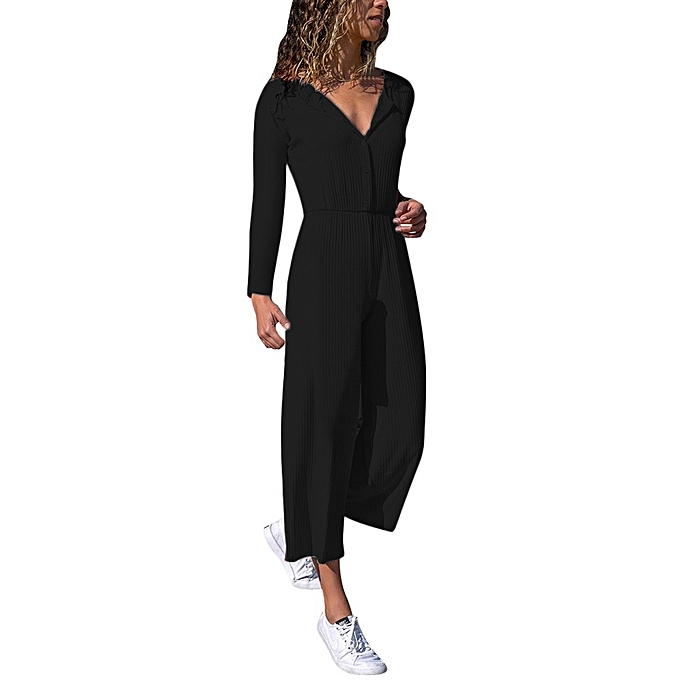 bfbf40e67a jiuhap store Womens V Long Sleeve Wide Leg Casual Jumpsuit Playsuit Party  Holiday Beach -Black