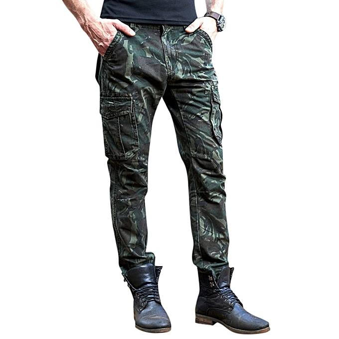 01a4851f0b Men s Military Cotton Outdoor Zipper Fly Camouflage Climbing Multi Pockets  Cargo Pants
