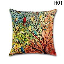 Hequeen  Oil Painting Hundreds Of Birds Cotton Cotton Cushion Pillow Case Cushion Home Decorative Sofa
