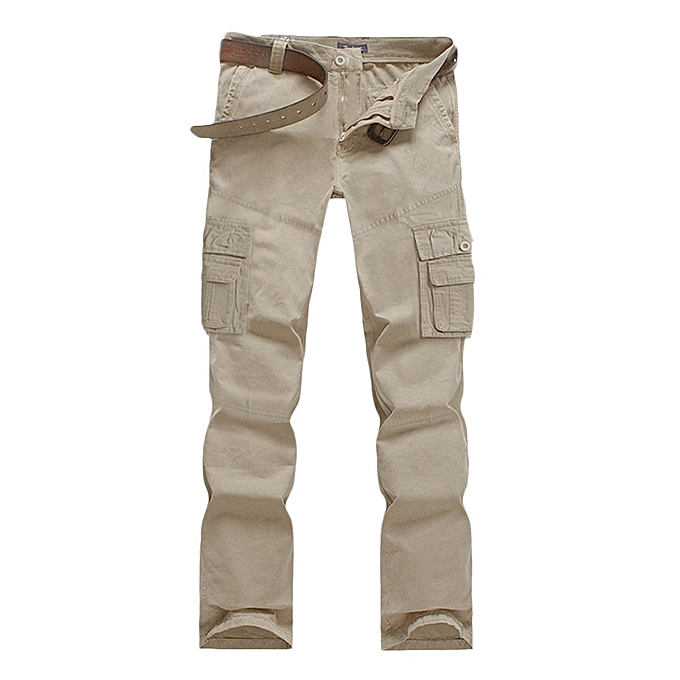 6229dccfa9 TB Men Casual Cargo Pants Mid-waisted Multiple Pockets Overalls With Zipper  Fly beige white