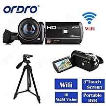 "ORDRO HDV-D395 Full HD 1080P 18X 3.0"" Touch Screen Digital Video Camera+Tripod Free shipping LOOKFAR"