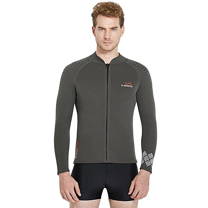 ... Swimwear Front Zipper - Grey · Winter Thick Men 3MM Neoprene Wetsuit  Tops Long Sleeve Warm Diving Snorkeling Coat Shirts Stretchy Surfing 09d14ae70