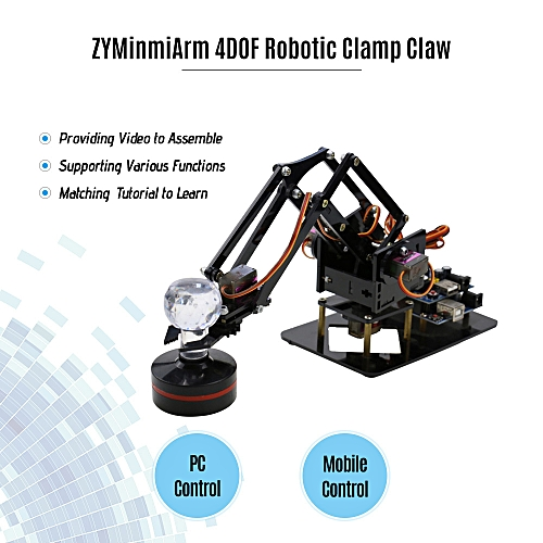 Robotic Arm 4DOF Mechanical Metal Clamp Claw Kit DIY Education Kid Gift Toy  with Servo Controller Free PC Software APP for Programming Starter