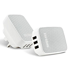 Earldom Multi Port USB Charger Adapter Travel Wall Charger 3 USB Wall Charger Universal AC Power Adapter 6.2A For Apple Samsung(Silver)