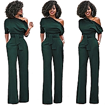 Jumpsuits Long Romper Pants With Belt One Shoulder Solid Comfortable Women S Wide Leg-green