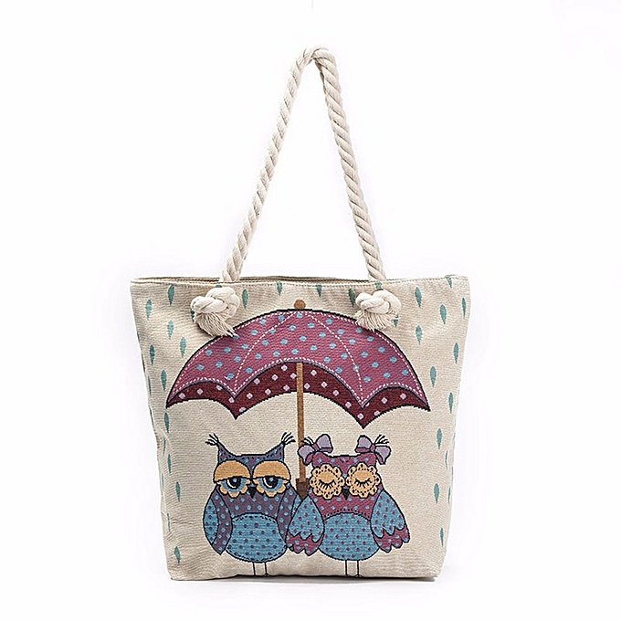 douajso Owl Printed Tote Bags Women Shoulder Bag Handbags Shopping Bag 60c91c45bc