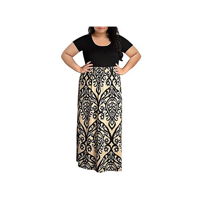 ab94b9ab83a ... Hiaojbk Store Women s Chevron Print Summer Short Sleeve Plus Size  Casual Long Maxi Dress-Khaki ...