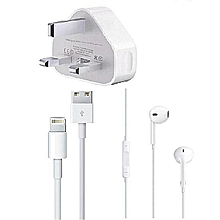 IPhone Charger with free iphone earphones  - White