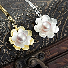 Fashionable Simple Cherry Pearl Elegant 925 Sterling Silver Necklace Color Yellow Gold