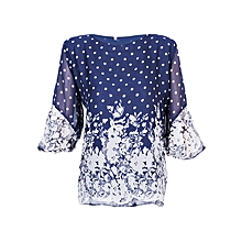 Women Navy Blue and White Polka Dot with Border Double Layered Casual Chiffon Blouse