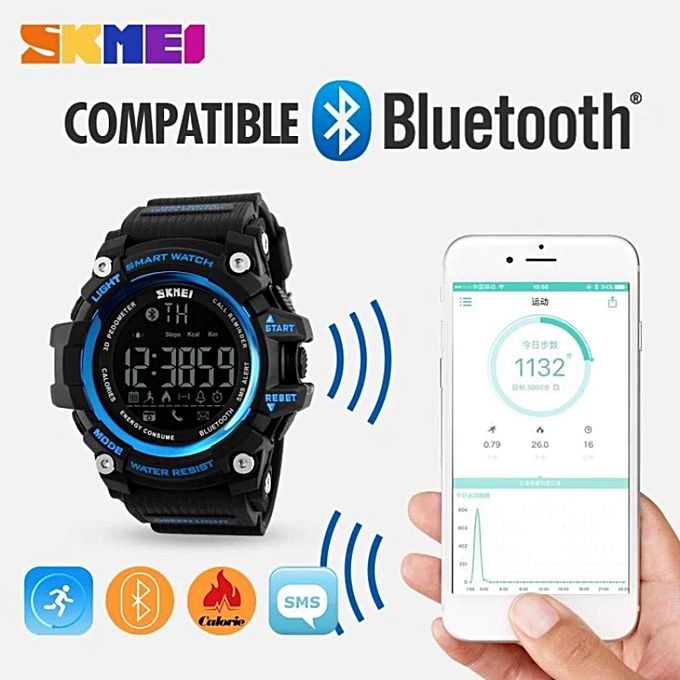 ... Hot Sales Skmei 1227 Watch Men's Sports Wristwatches Smart Pedometer Bluetooth Men's LED Alarm Waterproof Digital ...