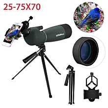 25-75X70 Waterproof Zoom Monocular BAK4 Spotting Scope W/ Tripod & Phone Adapter