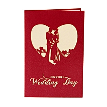 3D Greeting Card Pop Up Wedding Handmade Gift With Romantic Couple red / blue