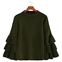 Layered Sleeve Flouncy Pullover Sweater - ARMY GREEN 00a34d572