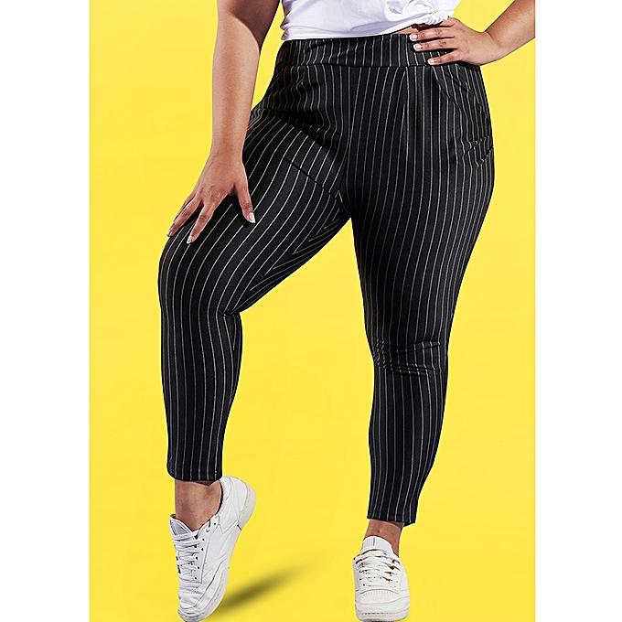 e246b841defb9 Generic Women Plus Size Pants Contrast Striped Print Elastic High Waist  Side Pocket Casual Slim Long Trousers Black