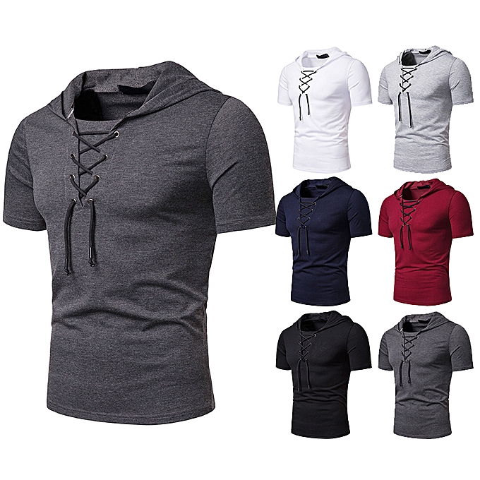 Fashion Men s Lace-Up short Sleeved T-Shirt Loose Hoodie Dark Gray ... fc5a3a489