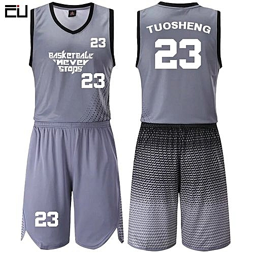 33bfdef2438 Longo Casual Men's Customized Basketball Team Sports Jersey Uniform-Grey (JL-817)