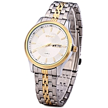 W00120 Men Calendar Steel Luminous Analog Quartz Watch-WHITE