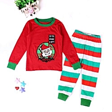 Refined Christmas Boy's Suit Cartoon Long-sleeved Santa Claus Home Spring And Autumn -red