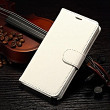 "For Galaxy Note 4 Case, Slim Holster Soft Flip Leather Cover With Card Slot Stand Function For 5.7"" Samsung N9100, White"