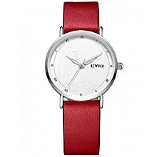 Classic Red Wrist Watch + Free Gift Box