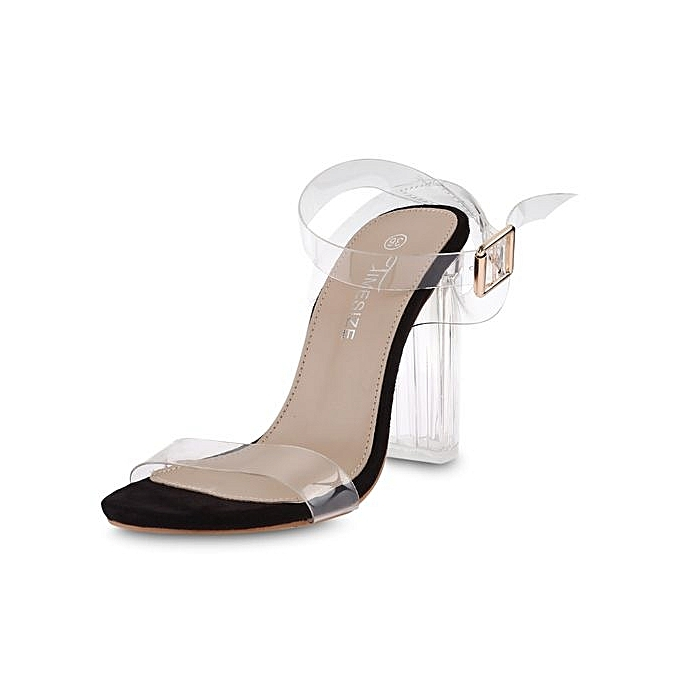 fb5470bad4b Fashion Sexy Ladies Thick Heel Sandals Open Toe Transparent Tape ...