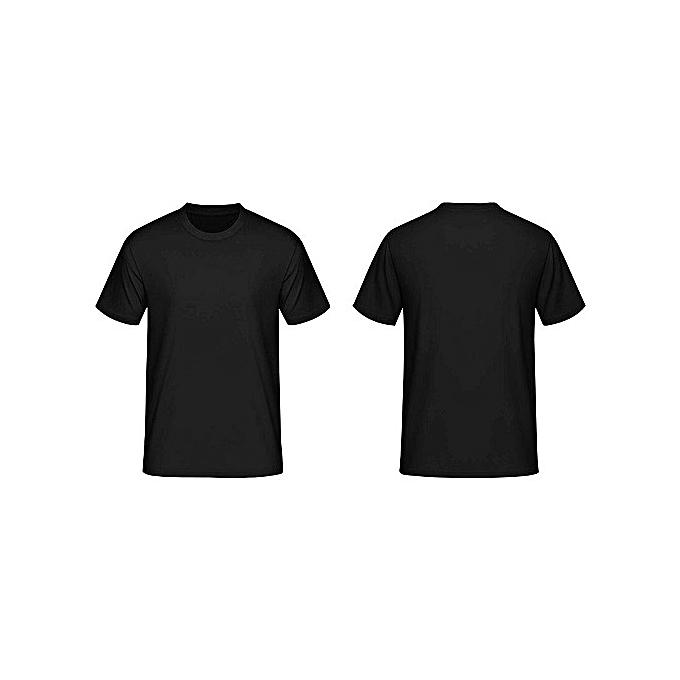 Generic Black Round Neck Men's Casual T-Shirt-Short Sleeve