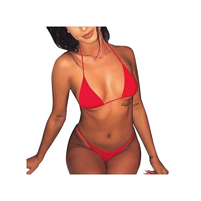 4fb4df6336951 Xingbiaocao Women Bikini Set Swimwear Push-Up Padded Bandage Bra Red  Swimsuit -Red