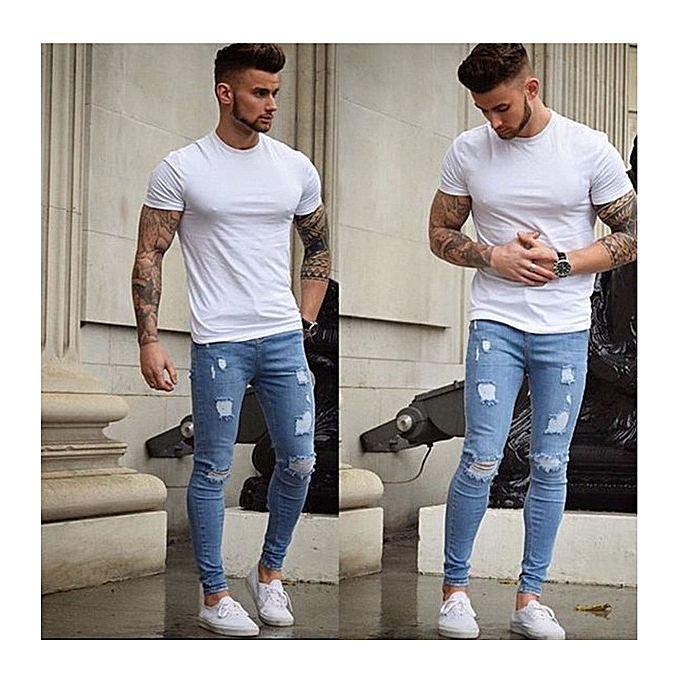 Generic Great Men Jeans Slim Tracks Holes Jeans Men S Skinny Jeans