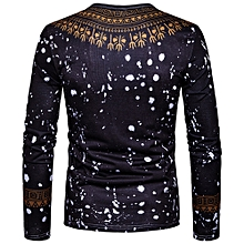 1747d13eb1acb Fashion duanxinyv Men s Casual African Print O Neck Pullover Long Sleeved T-shirt  Top Blouse