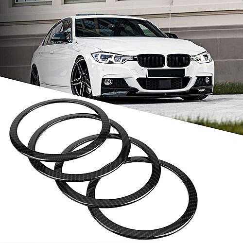 Generic 4pcs Carbon Fiber Style Car Door Speaker Ring Trim Cover For