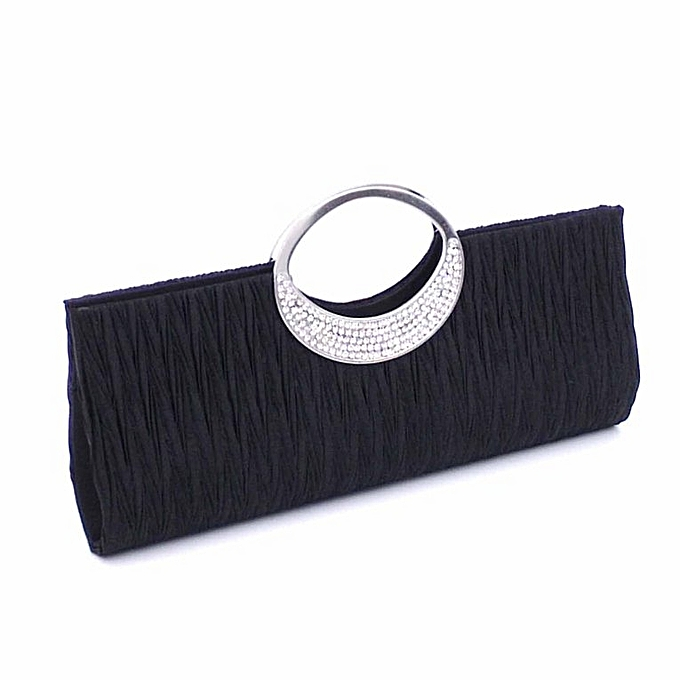 bfca123c63 Women Rhinestone Evening Hand Bag Satin Wedding Purse Bridal Party Purse Bag  Black - Black