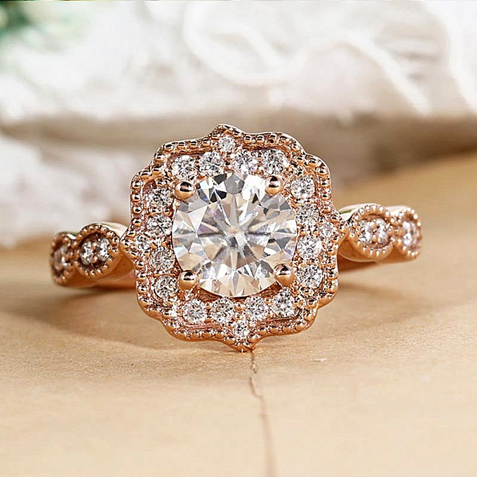 ee88061df014 The art of reviving old customs the engagement ring rose gold decorates the  Moissanite ring diamond wedding anniversary gift
