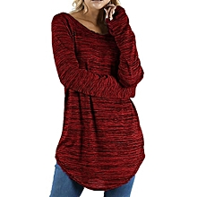Xiuxingzi Women Plus Size Solid Color RounLong Sleeve Blouse Pullover Tops Shirt