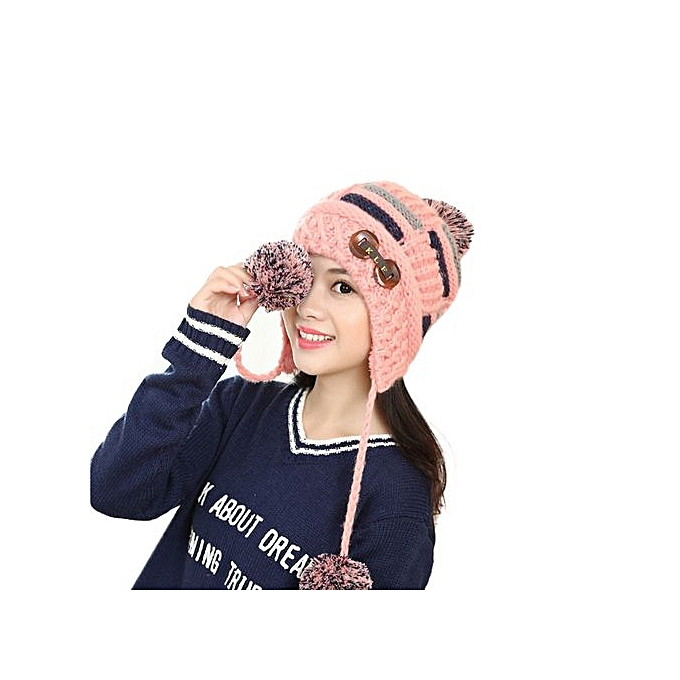 18ee1c6a551 Wenrenmok Store Women Winter Warm Braided Crochet Wool Knit Hat Beret Ski  Beanie Ball Cap NY