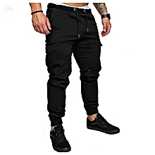 Black Men's Cargo Pant-Stylish Pocketed