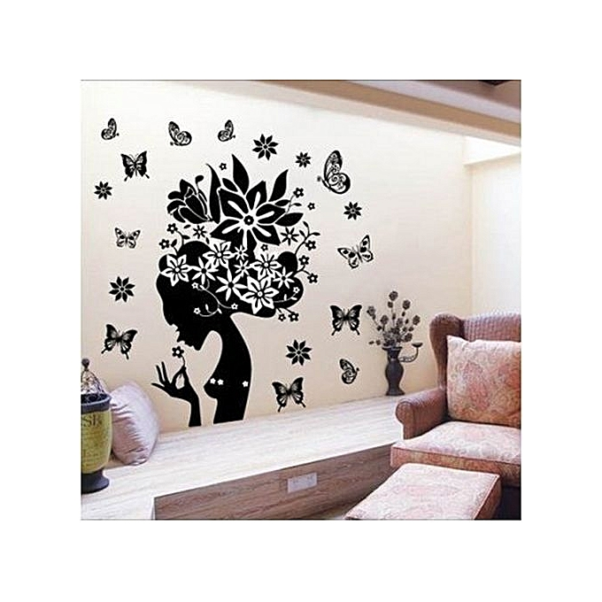Skywolfeye Pretty Butterfly Flower Fairy Girl Pvc Wall Sticker Home Decor Decals Jumia Kenya
