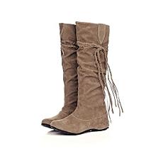 bluerdream-Women Heighten Platforms Thigh High Tessals Boots Motorcycle Shoes YE/37-Yellow37