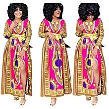 Ankara Styles V Neck Dashiki Princess Party Dress-Multi