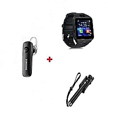 Dz09 Touch ScreenSmart Watch Phone Black + Free Bluetooth  + Free Selfie Stick - Black