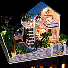 Hoomeda DIY Wood Dollhouse Miniature With LED Furniture Cover Star House-