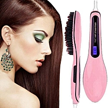 Professional Hair Straightener Comb Brush LCD Display Electric Heating Irons-Pink