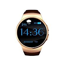 2016 Newest Round Smart Watch Kw 18 Android Sim Card Smart Wacht KW18 MTK2502C BT4.0 Heart Rate Monitor Smartwach For Men Hebrew Gold