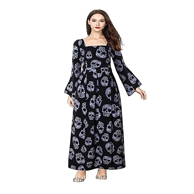 531270192b8 Women S Halloween Maxi Dress Bell Sleeve Skull Print Witch Long Costume -  Black