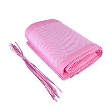 Breathable Mesh Crib Liner Safety Panel Bumper Nursery Bedding Baby Cot Bed Set Pink