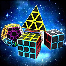 Dreampark 5 Packs 2x2 And 3x3 Pyraminx Pyramid Megaminx Skewb Carbon Fiber Sticker Speed Magic Cube Puzzle Toy For Intelligence Development Color:Black