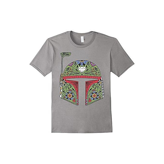 Boba Fett Suger Skull Helmet Graphic T-Shirt Cheap Fashion Short Sleeved  Funny T Shirts c1fadd53ba11