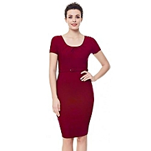 Women Pleated Pencil Dress - Deep Red